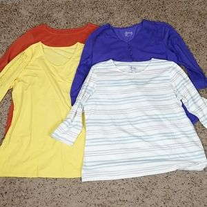 Lot of 4 D&CO 3/4 sleeved tops